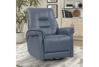 Crew Azure Leather Power Cordless Swivel Glider Recliner With Power Headrest & Usb