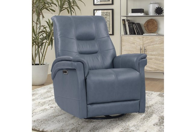 Crew Azure Leather Power Cordless Swivel Glider Recliner With Power Headrest & Usb - 360