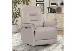 Crew Linen Leather Power Cordless Swivel Glider Recliner With Power Headrest & Usb