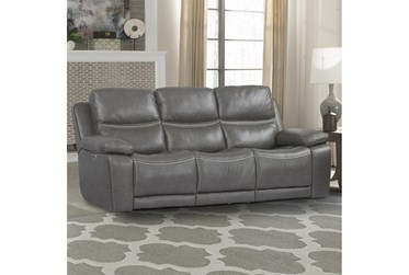 "Hendrix Warm Grey 88"" Leather Power Sofa With Power Headrest, Lumbar & Usb"