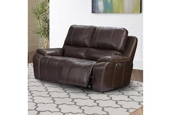 Grady Walnut Leather Power Loveseat With Power Headrest & Usb