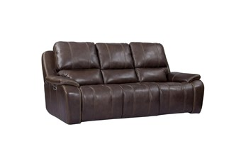 Grady Walnut Leather Power Sofa With Power Headrest & Usb