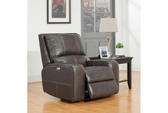 Briggs Twilight Leather Power Recliner With Power Headrest & Usb