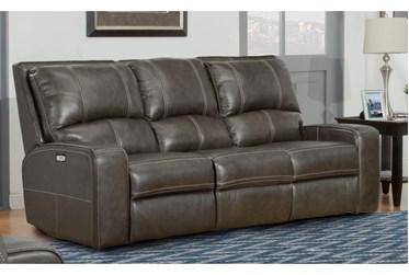 "Briggs Twilight 88"" Leather Power Reclining Sofa With Power Headrest & Usb"