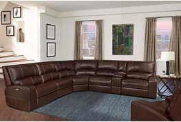 """Briggs Clydesdale 130"""" 6 Piece Leather Power Reclining Sectional With Power Headrest & Usb"""