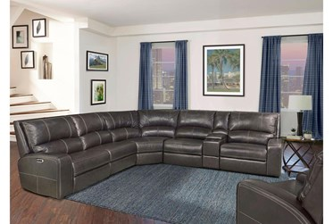 """Briggs Twilight 130"""" 6 Piece Leather Power Reclining Sectional With Power Headrest & Usb"""
