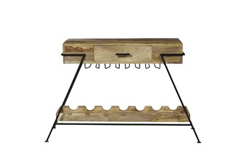 A Frame Metal And Wood Wine Console