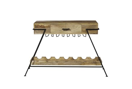 A Frame Metal And Wood Wine Console - Main