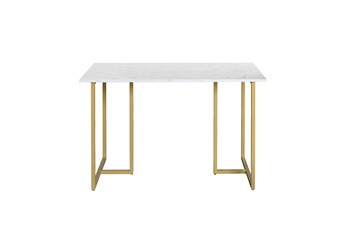 48 Inch Marble And Gold Metal Frame Writing Desk
