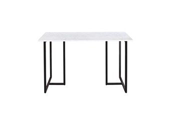 48 Inch Marble And Black Metal Frame Writing Desk
