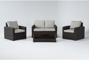 Zanzibar Brown Outdoor 4 Piece Lounge Set