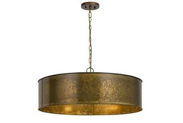 29.5X12.5 Gold Metal 3 Light Drum Chandelier