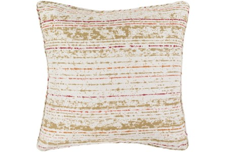 Outdoor Accent Pillow-Orange Coral Stripe 16X16 - Main
