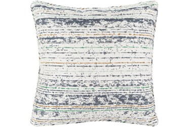 Outdoor Accent Pillow-Ivory Navy Stripe 16X16
