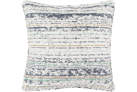 Outdoor Accent Pillow-Ivory Navy Stripe 16X16 - Main