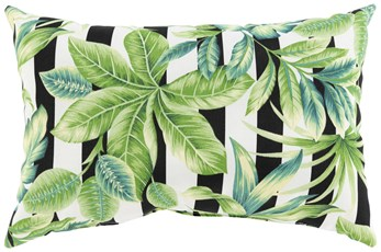 Outdoor Accent Pillow-Black Stripe Leaves 20X13