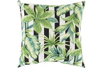 Outdoor Accent Pillow-Black Stripe Leaves 20X20