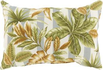 Outdoor Accent Pillow-Grey Stripe Leaves 20X13