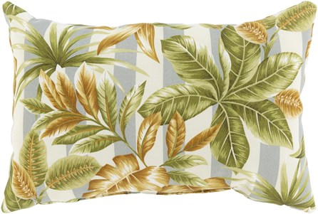 Outdoor Accent Pillow-Grey Stripe Leaves 16X16 - Main