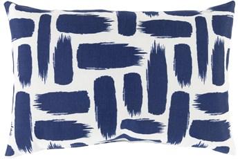 Outdoor Accent Pillow-Dark Blue & White Daub 20X13