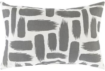 Outdoor Accent Pillow-Medium Grey & White Daub 20X13