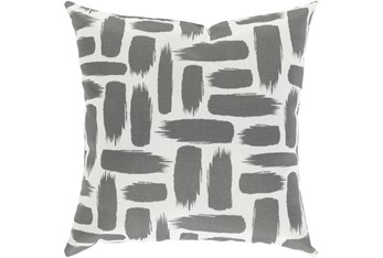 Outdoor Accent Pillow-Medium Grey & White Daub 16X16