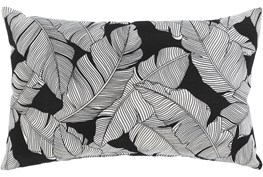 Outdoor Accent Pillow-White On Black Tropical Leaves 20X13