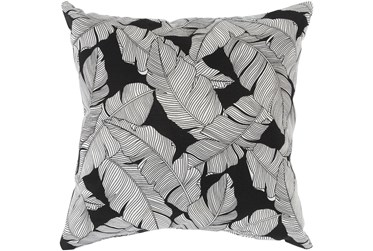 Outdoor Accent Pillow-White On Black Tropical Leaves 16X16
