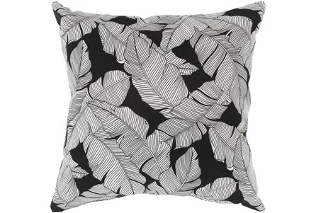 Outdoor Accent Pillow-White On Black Tropical Leaves 16X16 - Main