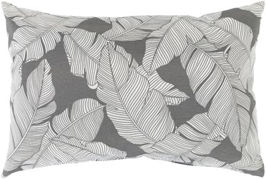 Outdoor Accent Pillow-Grey On White Tropical Leaves 20X13
