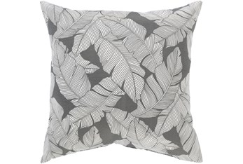 Outdoor Accent Pillow-Grey On White Tropical Leaves 16X16