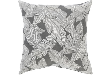 Outdoor Accent Pillow-Grey On White Tropical Leaves 16X16 - Main