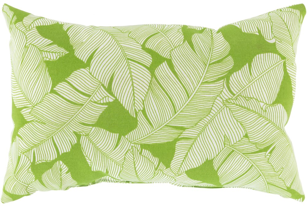 Outdoor Accent Pillow-White On Green Tropical Leaves 20X13