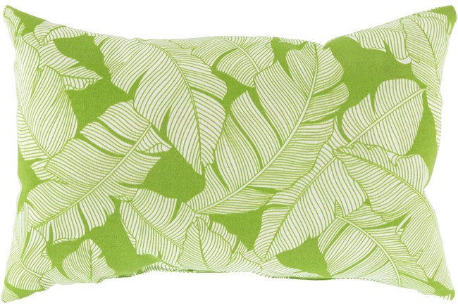 Outdoor Accent Pillow-White On Green Tropical Leaves 20X13 - 360