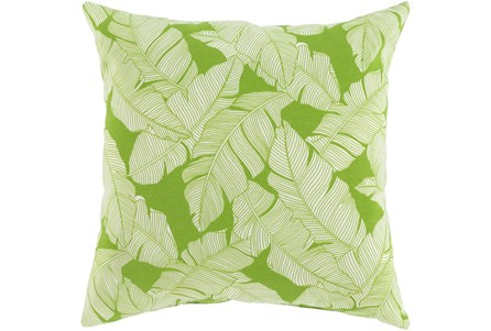 Outdoor Accent Pillow-White On Green Tropical Leaves 16X16 - Main
