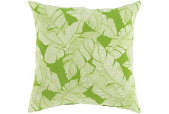 Outdoor Accent Pillow-White On Green Tropical Leaves 20X20