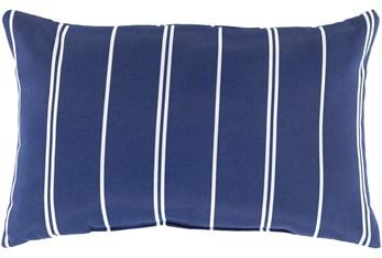 Outdoor Accent Pillow-Dark Blue Vertical Stripe 20X13