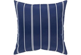 Outdoor Accent Pillow-Dark Blue Vertical Stripe 16X16