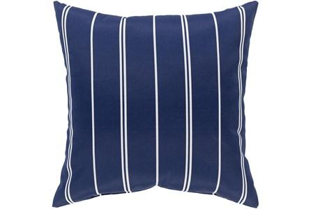 Outdoor Accent Pillow-Dark Blue Vertical Stripe 16X16 - Main