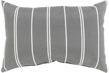 Outdoor Accent Pillow-Medium Grey Vertical Stripe 20X13