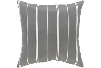 Outdoor Accent Pillow-Medium Grey Vertical Stripe 16X16