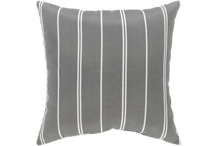 Outdoor Accent Pillow-Medium Grey Vertical Stripe 16X16 - Main