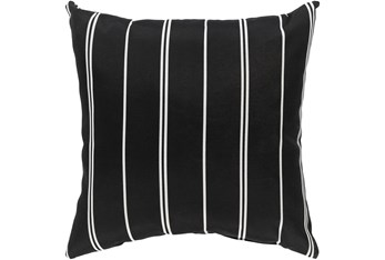 Outdoor Accent Pillow-Black Vertical Stripe 16X16