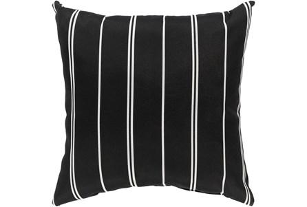 Outdoor Accent Pillow-Black Vertical Stripe 16X16 - Main