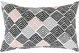 Outdoor Accent Pillow-Black And Coral Geo Squares 20X13
