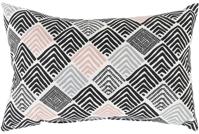 Outdoor Accent Pillow-Black And Coral Geo Squares 20X13 - 360