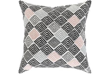 Outdoor Accent Pillow-Black And Coral Geo Squares 16X16 - Main
