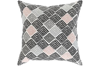 Outdoor Accent Pillow-Black And Coral Geo Squares 20X20