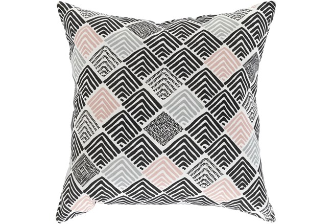Outdoor Accent Pillow-Black And Coral Geo Squares 20X20 - 360