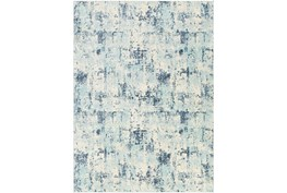 """8'10""""X12' Outdoor Rug-Ivory & Navy Abstract"""